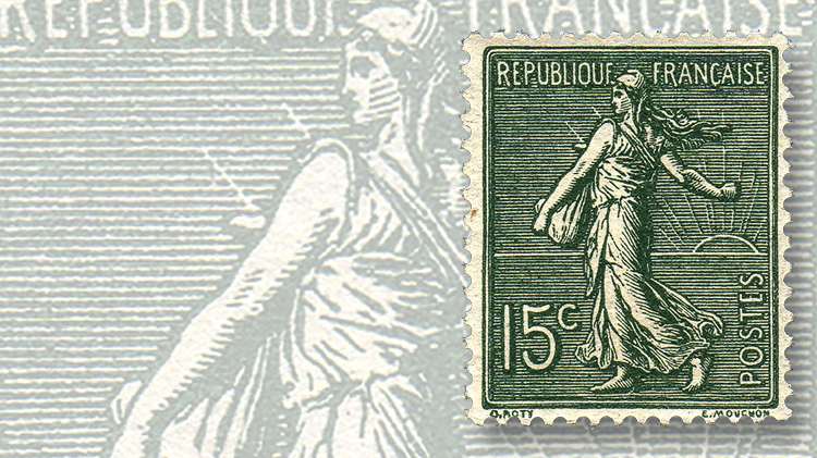 15-centime-slate-green-sower