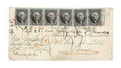 1848-rush-cover-1847-george-washington-strip-six-philadelphia-paris