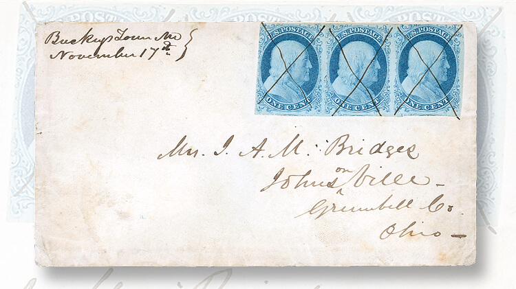 1851-cover-with-strip-1-cent-franklin-stamps