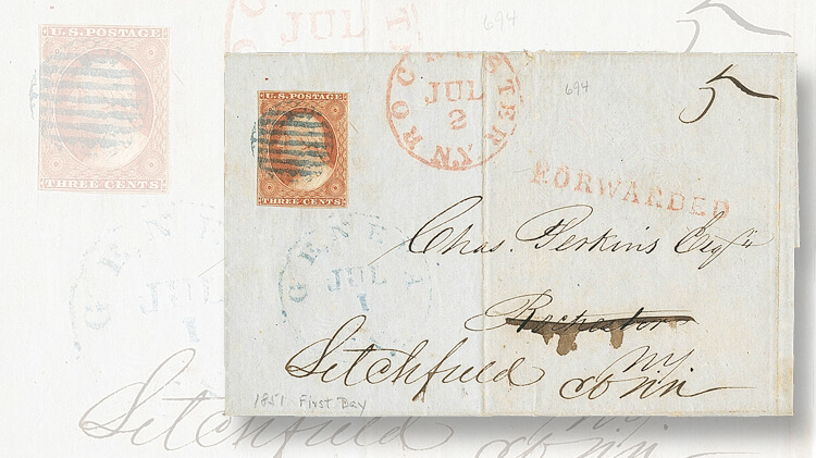 1851-folded-letter-two-postal-rates