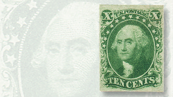 1855-ten-cent-green-george-washington-type-iv-stamp