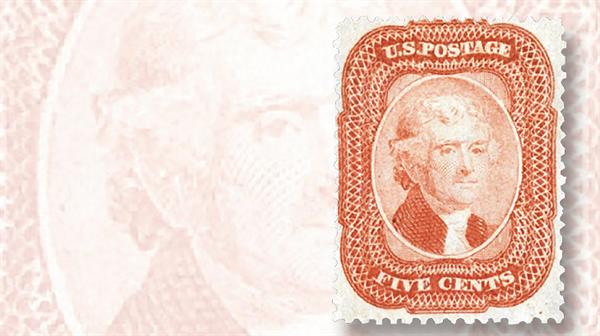 1858-five-cent-brick-red-thomas-jefferson-type-i-stamp