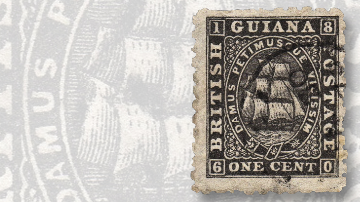 1866-one-cent-masted-ship-stamp-british-guiana
