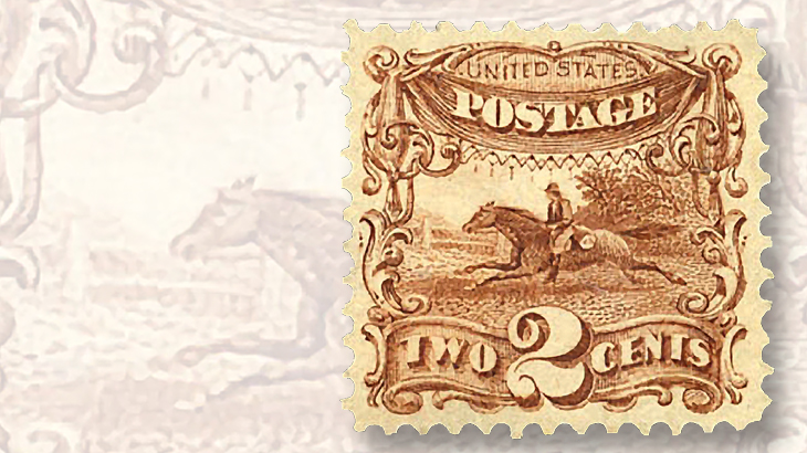 1869-pictorial-ungrilled-two-cent-post-horse-and-rider