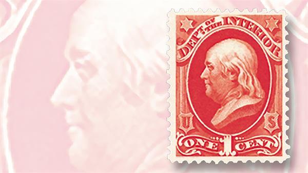 1873-department-interior-one-cent-vermilion-benjamin-franklin-official-stamp