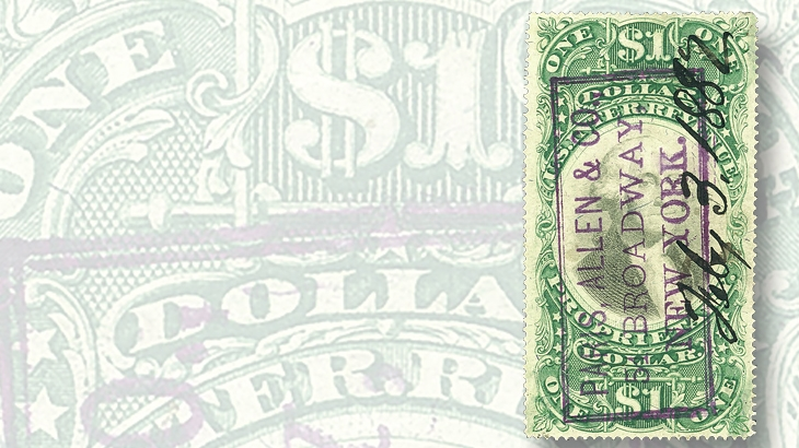 1874-one-cent-green-black-on-green-paper-proprietary-revenue-stamp