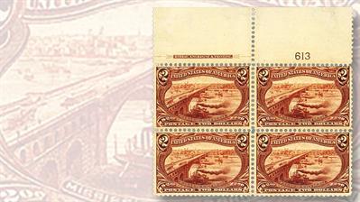 1898-two-dollar-orange-brown-trans-mississippi-plate-block