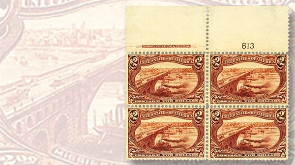 1898-two-dollar-orange-brown-trans-mississippi-plate-block