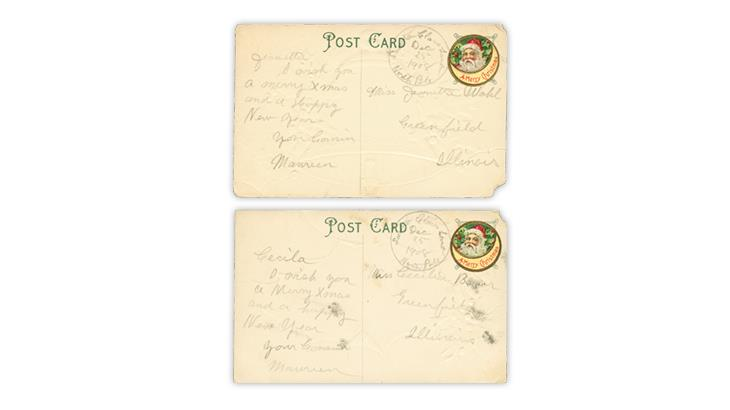 1908-christmas-labels-hand-drawn-datestamps-postcards