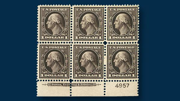 1909-one-dollar-violet-brown-george-washington-plate-block-six
