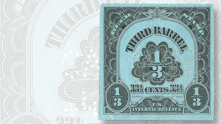 1909-one-three-cent-barrel-beer-stamp-small-faults