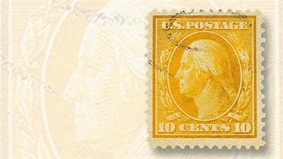 1909-ten-cent-yellow-george-washington-stamp