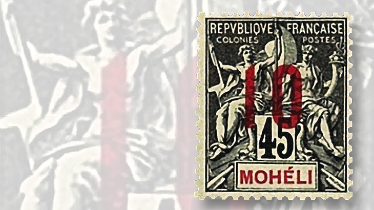 1912-10-centime-on-45c-moheli