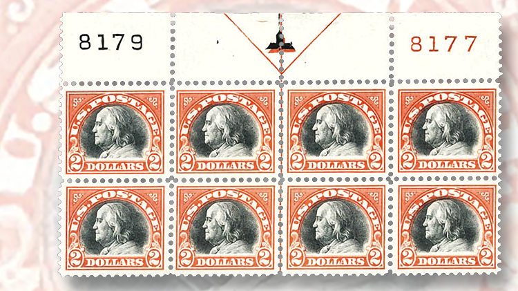 1918-two-cent-orange-red-and-black-franklin-plate