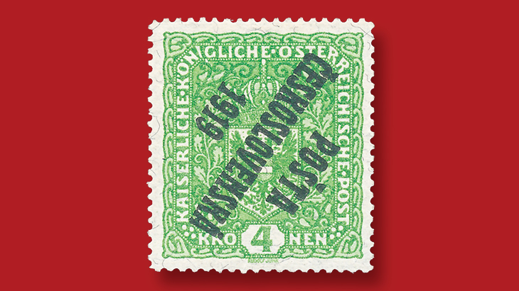 1919-4-koruna-light-green-austrian-coat-arms-stamp