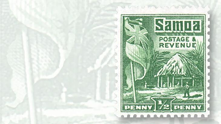 1921-hut-and-flag-samoa-stamp-design