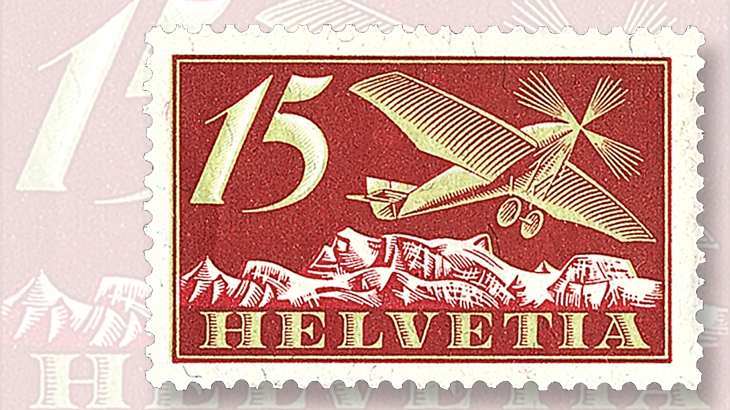 1923-15-centime-brown-red-and-apple-green-aircraft-stamp