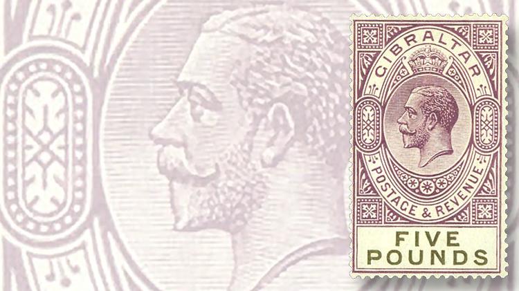 1925-five-euro-dull-violet-black-king-george-v-stamp-chalk-surfaced-paper