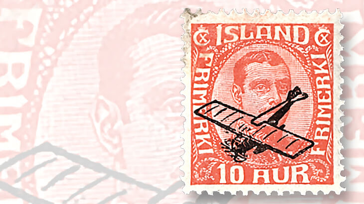 1928-iceland-overprinted-first-airmail-stamp