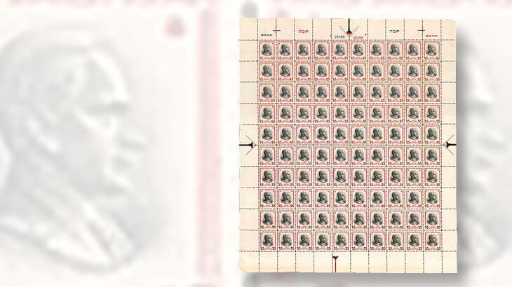 1938-full-sheet-of-the-five-cent-calvin-coolidge-stamps