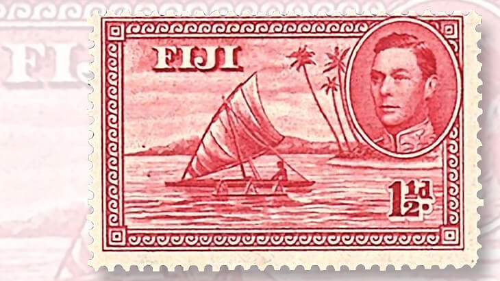 1940-fiji-outrigger-canoe-stamp-with-sailor