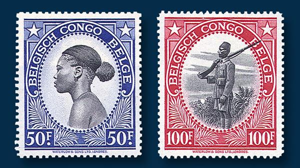 1943-belgian-congo-set-two-high-denomination-stamps