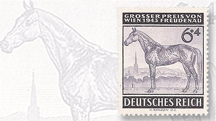 1943-freudenau-vienna-horse-race-semipostal-stamp