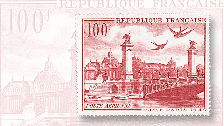 1949-alexander-bridgepetit-palais-airmail-stamp