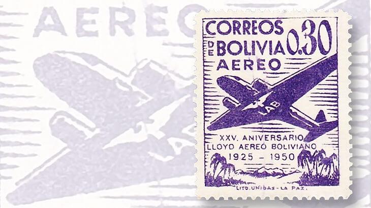 1950-bolivia-airmail-set-variety-scratch