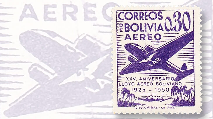 1950-bolivia-airmail-set-variety-scratch