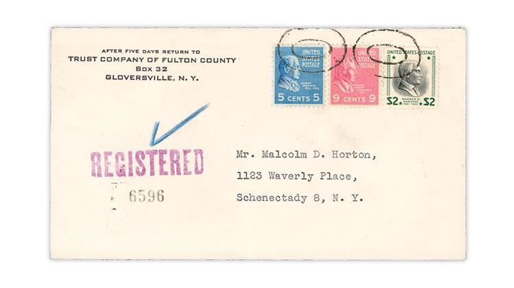 1952-prexie-registered-cover-gloversville-schenectady-new-york