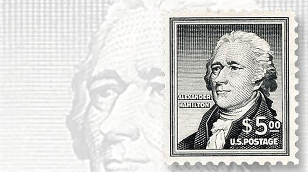 1956-five-dollar-alexander-hamilton-stamp
