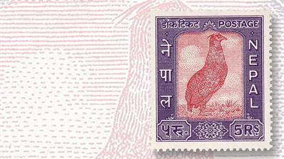 1960-nepal-five-rupee-crimson-horned-pheasant-stamp