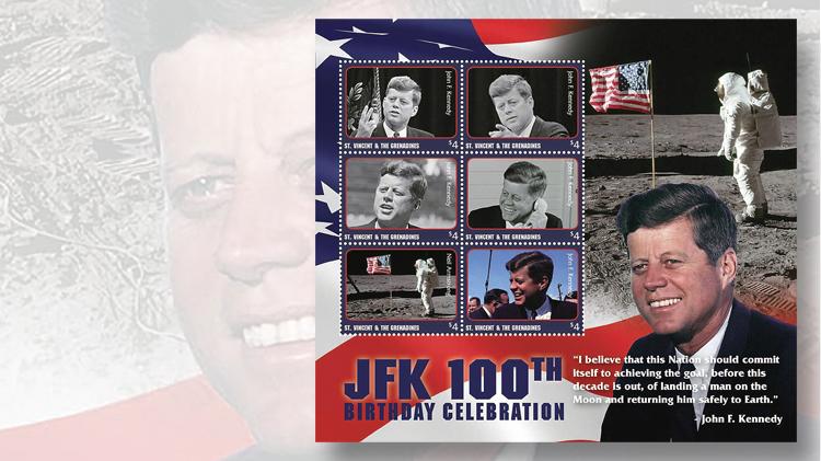 1961-pane-stamps-st-vincent-jfk-anniversary