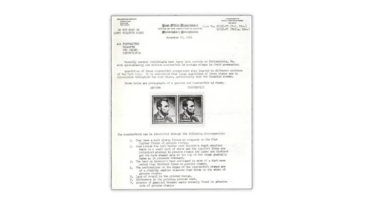 1961-post-office-department-notice-genuine-counterfeit-1954-abraham-lincoln-stamps
