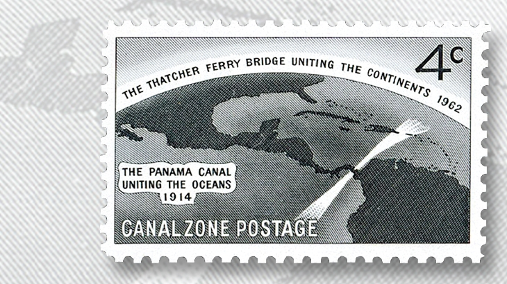 1962-four-cent-canal-zone-thatcher-ferry-bridge-stamp