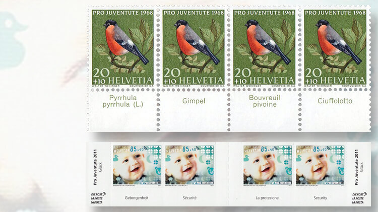 1968-and-2011-swiss-pro-juventute-stamps