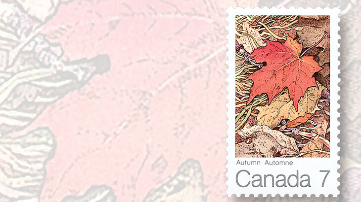 Hunting For Colorful Autumn Foliage On Postage Stamps