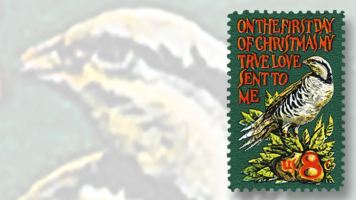 the first christmas stamp to illustrate a popular holiday carol was issued in 1971 jamie wyeths design shows a partridge in a pear tree and lyrics from