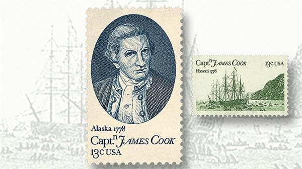 1978-thirteen-captain-james-cook-and-thirteen-cent-hms-resolutio-and-hms-discovery-stamp
