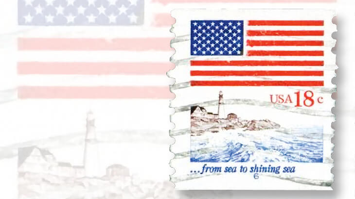 1981-18-cent-flag-over-lighthouse-stamp
