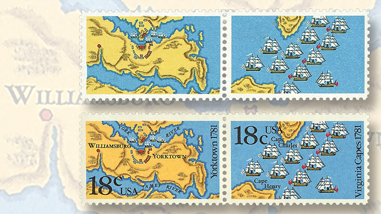 1981-18-cent-se-tenant-pair-battle-yorktown-battle-virginia-capes-stamps