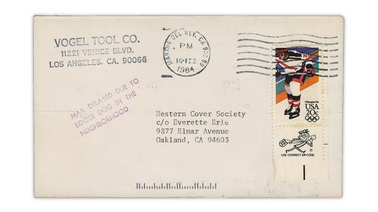 1984-mail-delayed-loose-dog-neighborhood-handstamp-cover
