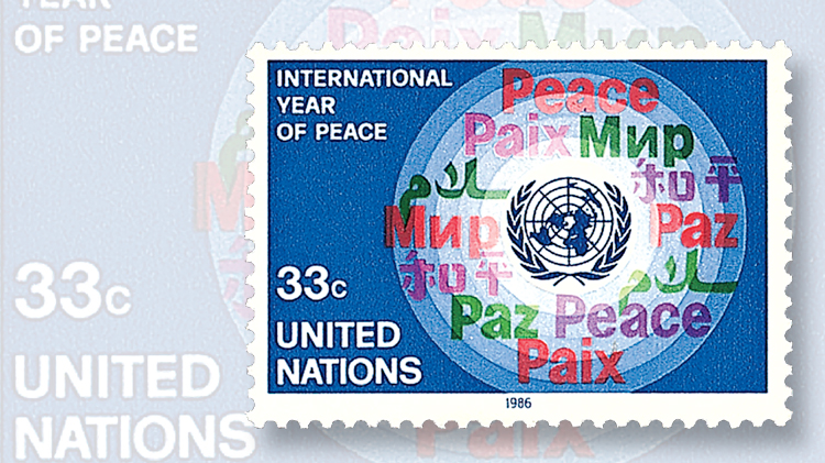 1986 International Year of Peace stamp