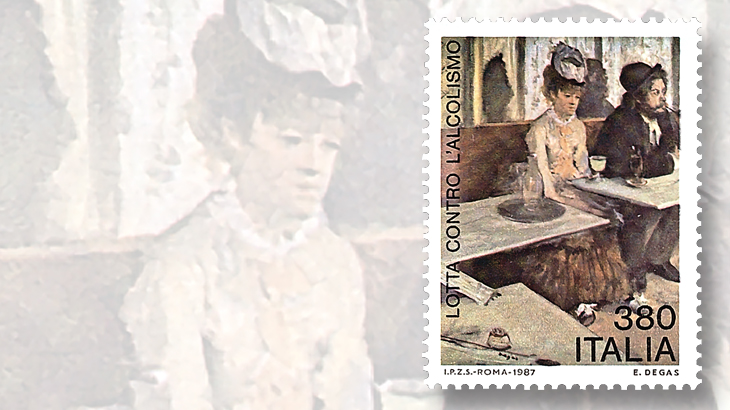 1987-italian-commemorative-stamp-the-absinthe-drinker