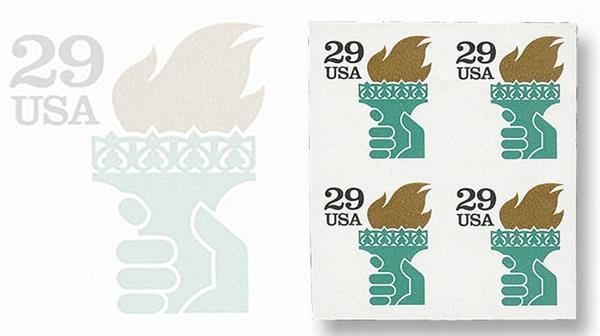 1991-twenty-nine-cent-liberty-torch-self-adhesive-stamp