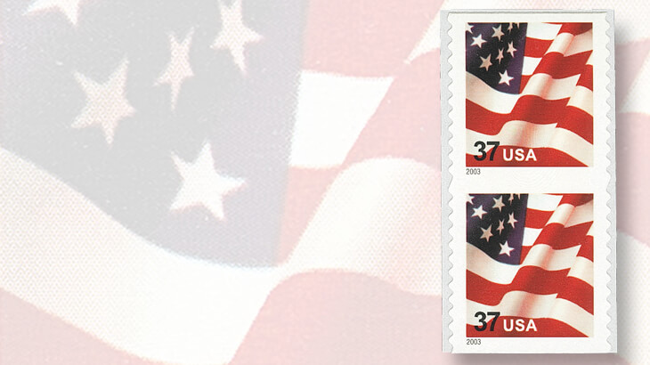 2003-vertical-pair-unslit-between-thirty-seven-cent-flag-stamps