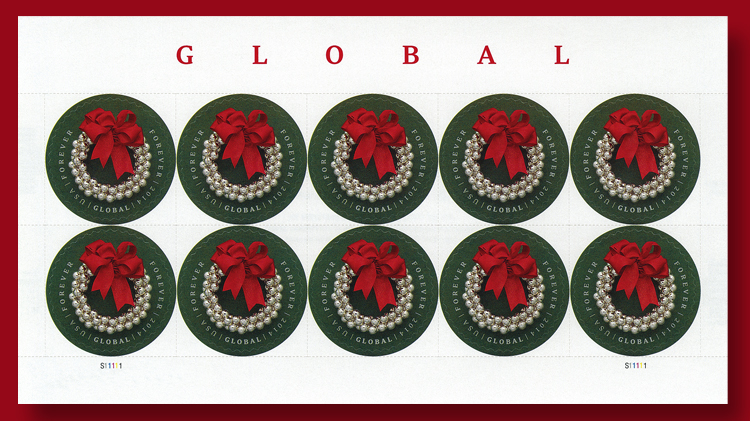Silver Bells Wreath Global Forever Stamps Are A Good Buy In Panes Of 10