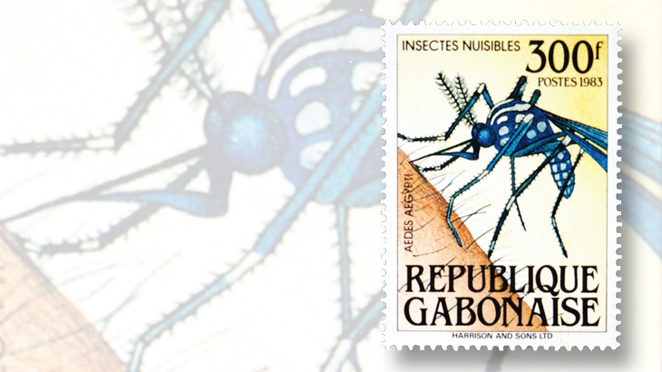 300-franc-aedes-aegypti-mosquitoes-stamp-fro-gabon