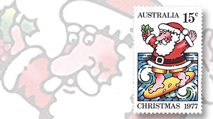 50-years-australia-christmas-stamp-santa-claus-surfing